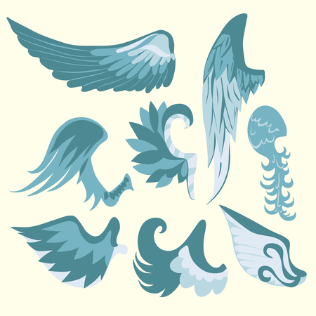 Set Of Beautiful Cute Cartoon Blue And White Wings. Vector illustration