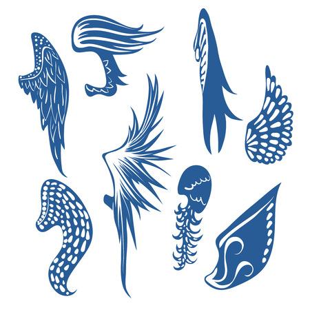 pajaro caricatura: Gran conjunto de contorno bonito izquierdas con las plumas. ilustración vectorial Vectores