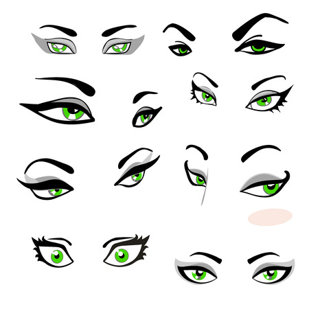 Set Of Green Eyes With Eyebrows With The Expression Of Emotions. Vector illustration
