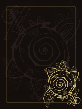 felicitation: greeting card on a chocolate background with bright flower