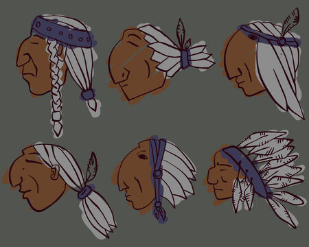 hoary: Set of 6 red Indian silhouette coloured  heads, hand-drawn