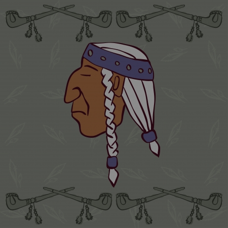 red indian: Red Indian profile head with peace-pipes