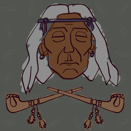 hoary: Red Indian face with two peace-pipes meditation Illustration