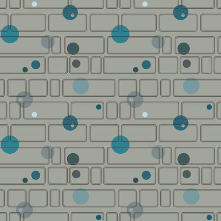 cerulean: Seamless pattern with rectangles and circles on a gray  Illustration