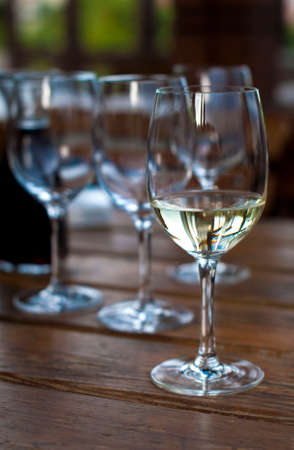 degustation: degustation of white and red wines Stock Photo