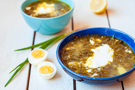 Green borsch with beef in deep plates. Sour oxalic soup with spinach and egg in two deep blue dishes on a white background. Soup from sorrel and spinach with beef and lemon and sour cream Stock Photo