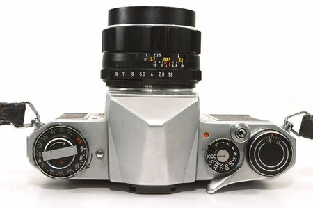 Top view of A vintage, old, reliable mechnical manual SLR camera. Well weathered yet reliable and dependable in the age of relying too much on electronics to do simple tasks. photo
