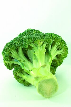 brocolli: Single large brocolli on its side, on white background Stock Photo