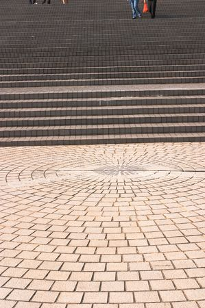 convergence: Pavement leading to or from broad stairways. Patterns.