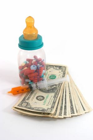 emphasizes: high costs of children medication, bottle & pills, tall perspective and apparent tall bottle emphasizes high cost. Expensive health care for children  .