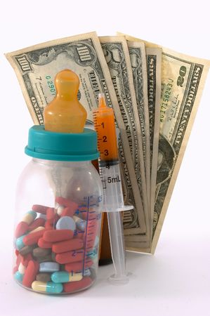 apparent: high costs of children medication, bottle & pills, tall perspective and apparent tall bottle emphasizes high cost. Expensive health care for children  . Pills in the milk bottle represents medication for children.