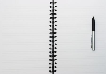 spiral book: Empty blank ring, spiral notepad, one pen