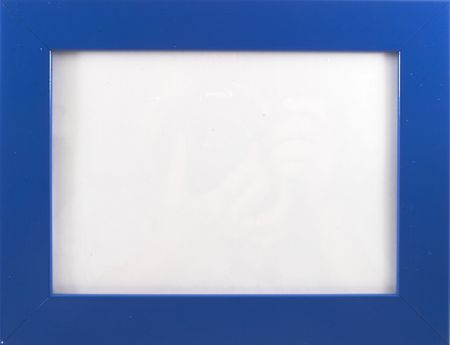 Empty blue photo frame, clear frame, wood, on white, landscape orientation photo