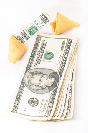 One Chinese Fortune Cookie open with money, cash neatly folded inside the snack, on white background photo