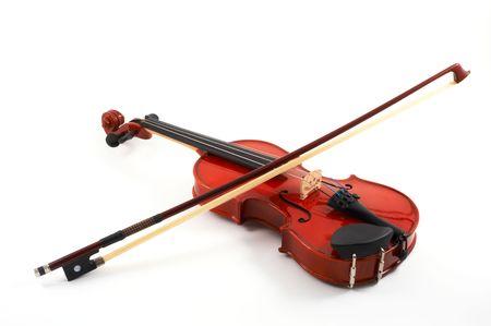 角度のついた: 白い背景、上部、斜めビューの文字列全体弓とヴァイオリン 写真素材