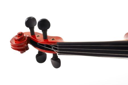 tilted view: Violin head tilted view, white background, horizontal, landscape orientation, no shadow, isolated