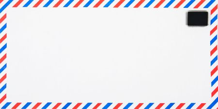 consign: Air Mail envelope with electronic, silicon chip as stamp, conceptual shot for email.