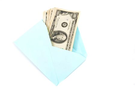 Money in envelope, symbolizes gift, cash delivery. Conceptually useful for many representations. photo