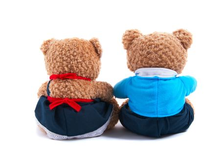 Toy bears dress up as a couple, with shirt and tie and frilly dress. Together, in love, friendship, back view, closeup photo
