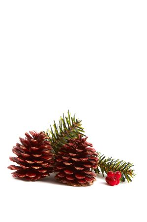 Christmas pine cones, pine leaves, presents isolated on white background. Vertical, portrait orientation. Stock Photo - 2121230