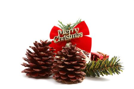 Merry Christmas pine cones, pine leaves, presents isolated on white background. Horizontal, landscape orientation. Stock Photo - 2121236