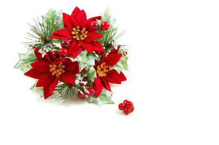 poinsettia: Christmas wreath, poinsettia flowers, leaves and berries on a snowy setup. Horizontal, landscape orientation Stock Photo