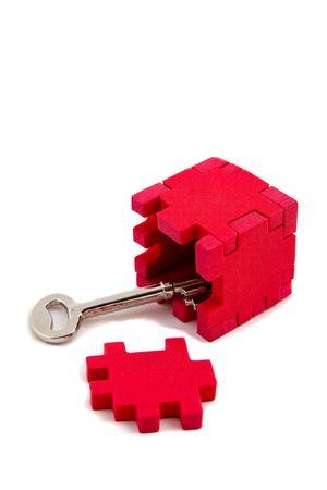 vertical orientation: Key unlocks puzzle, opens up (vertical orientation)