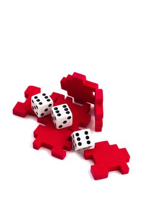 signify: Opened cube puzzle. Concept of problem solved. But still an element of chance, signify by the dice. Isolated on white background.
