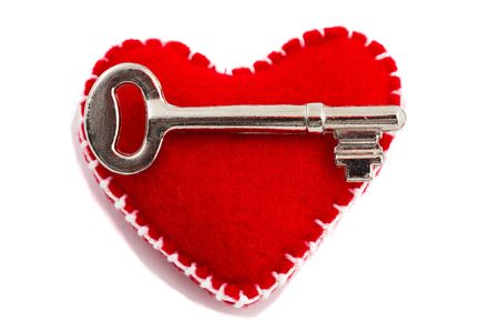 Key to the heart, isolated on white, focus on the key. Stock Photo - 4656796