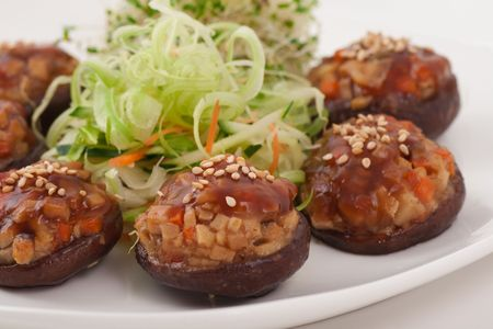 Healthy Chinese Vegetarian Mushroom Dish, Shallow Depth of Field photo