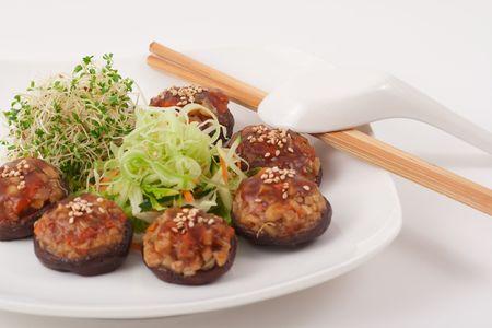 Healthy Chinese Vegetarian Mushroom Dish, Shallow Depth of Field Stock Photo - 4736764