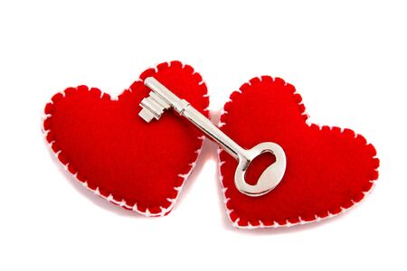 Two Hearts and a Key to signify opening of ones heart to love photo