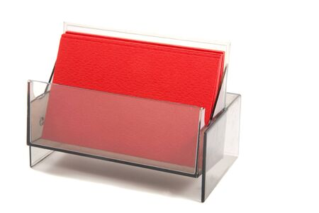 coporate: Red blank business card in a box, card is empty for putting text