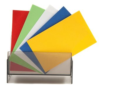casing paper: Colorful blank name cards in a box and spread out
