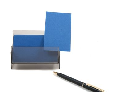 coporate: Blue business card with empty space for text. Isolated on white background Stock Photo