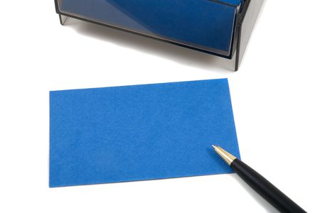 casing paper: Blue Business (blank) card on White with pen. Empty card for adding text.