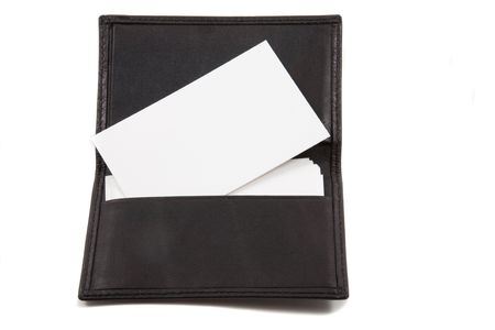 Stack of white blank card in card holder. Busines cards blank for adding own text photo