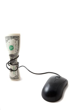 signify: Money with mouse tied around to signify tightening of budget Stock Photo
