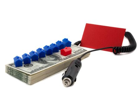 replenish: A charger conceptualizes recharging the finances to servicerefinance mortgage, loans. Blank card to allow for text space Stock Photo