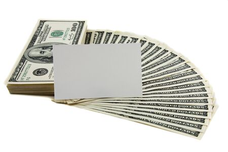 Blank card on spread of cash, empty text space Stock Photo - 5845337