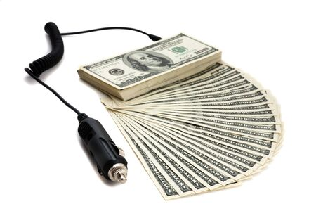 refinancing: Charger plugge into money to signify recharging, refinancing.