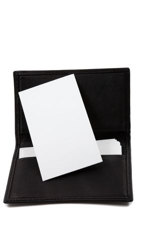 White, blank business card in leather card holder photo