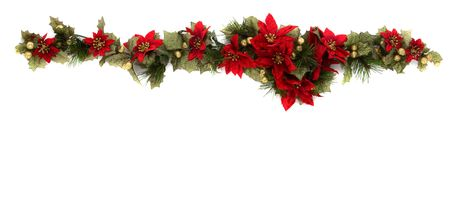 poinsettia: Border made of Christmas decoration. On white background and isolated, with some copy space for text. Stock Photo
