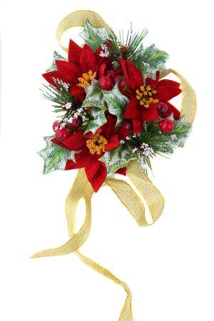 flor de pascua: Decoraci�n de Navidad de Euphorbia pulcherrima, agradable verdes y rojos de color combinaci�n, con cinta de oro. Foto de archivo