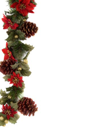 Border made of Christmas decoration. On white background and isolated, with some copy space for text. photo