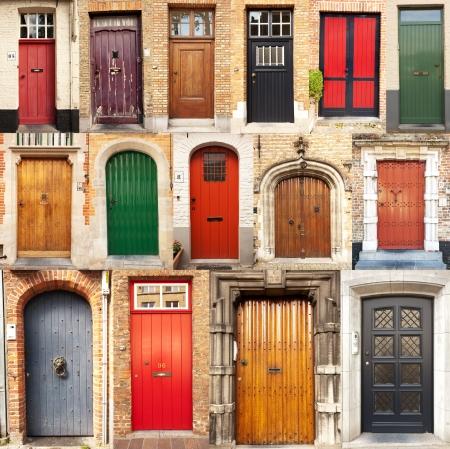 ベルギーのブルージュの町からの 15 の異なるヨーロッパ正面玄関ドアのコラージュ