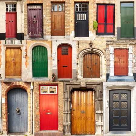 A collage of 15 different European front entrance doors from the town of Bruges in Belgium  Stock Photo