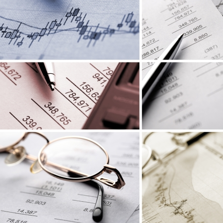 A collage of business and financial macro images photo