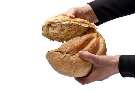 Egy idős asszony és eltörte egy vekni kenyér Stock fotó