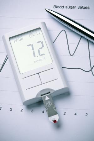 正常範囲撮影ペンの横にあると、グラフ上に値を表示する血糖メーター